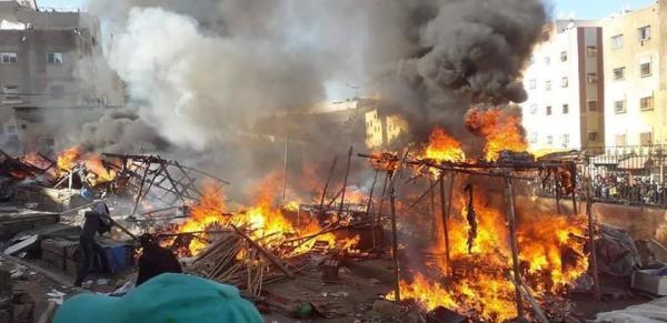 اندلاع حريق بسوق عشوائي للخضر بفاس